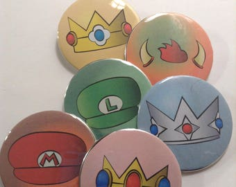 Mario Buttons Set of 6