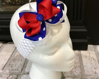 American pride! Stacked bow with headband.