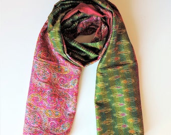 Upcycled, Exclusive Vintage Kantha Silk Sari Scarf  - Cerise/Lime Green