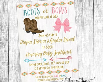 Boots Or Bows Gender Reveal Etsy