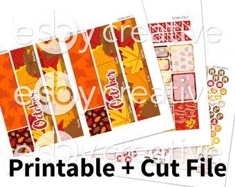 October 2017 Monthly Kit - Fall Leaves - Erin Condren Monthly View Sticker Kit Printable - ECMK-006 - INSTANT DOWNLOAD
