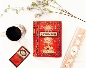"""SOLD - Vintage book GORGEOUS RARE literary masterpiece The Poetical Works of Alfred Tennyson, Poet Laureate, illustrated """"Complete Edition"""""""