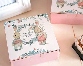 10pcs rabbit and friends design Cheese Cake Paper Box Cookie Container gift Packaging  12*12*4.5cm