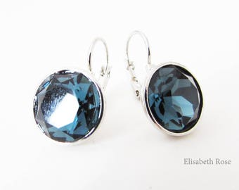 Navy Blue Earrings, Blue Crystal Earrings, Navy and Silver Earrings, Large Blue Crystal Earrings, Swarovski Earrings