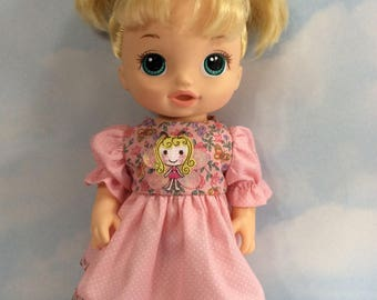 """Peachy pink cotton blend dress fits 12"""" baby Alive doll"""