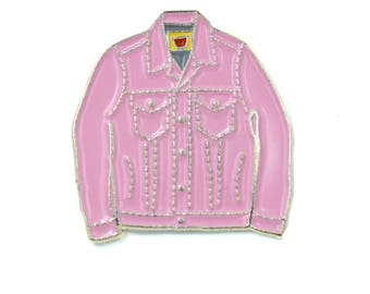 Pink jean jacket | Etsy