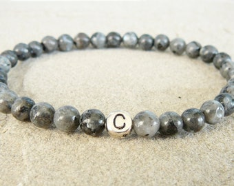 Personalized bracelet for man Letters bracelet Initial jewelry Gray bracelet for husband gift Custom bracelet mens labradorite bracelets