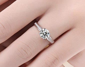 Sale!! Forever Classic Moissanite Engagement ring with natural diamonds in 18k white gold, Bridal Ring,Diamond Alternative engagement ring