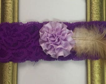 Purple Baby Headband, Elastic Lace Headband, Floral Band, Hair Accessories