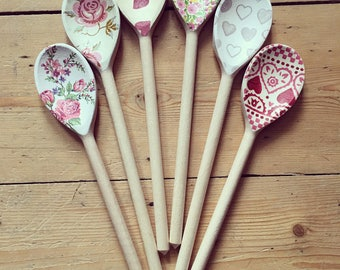 Hand decorated wooden spoon