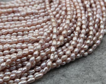 3 - 4 mm Freshwater Pearls Oval pearl Natural Purple loose pearl 15'' Full Strand