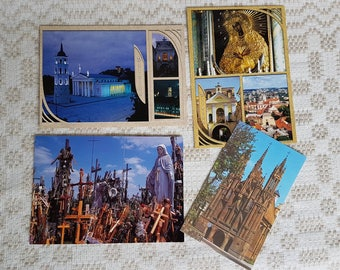 Set of four vintage  postcards, vintage art postcards, collectible postcard,  vintage souvenir World cities, old postcards of Lithuania