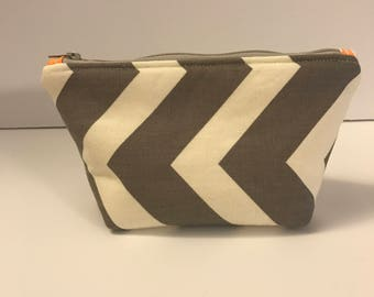 Small Zippered Pouch - Make-up Bag - Chevron Zippered Pouch - Pouch with zipper - Cosmetic Bag - Travel Bag - Grey Chevron Make-up Bag