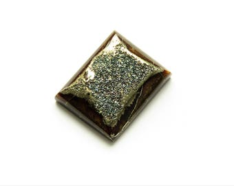 Rare geode with blue pyrite marcasite cabochons 26х21х3 mm