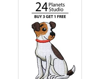Puppy Jack Russell Dog Iron on Patch by 24PlanetsStudio