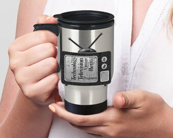 VINTAGE RETRO TELEVISION Travel Mug with Lid Birthday Gift Word Cloud Graces Insulated Stainless Steel Travel Coffee Mug With Lid