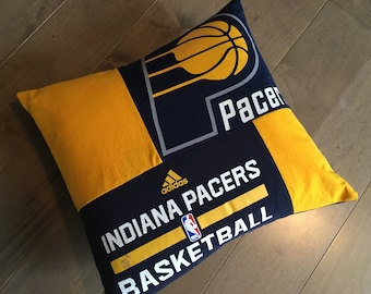 Indiana Pacers Basketball Upcycled T-Shirt Pillow (16x16)