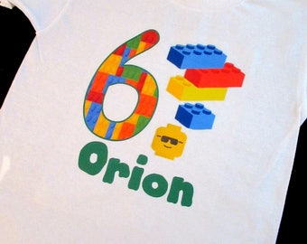 Boys Lego Birthday Shirt, Lego Shirt, Personalized Shirt, Boys Birthday Shirt, Custom Birthday Shirt, Birthday Boy Shirt, Lego Party