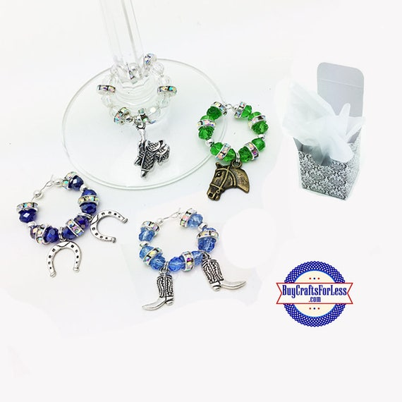 WESTERN Theme Wine or Bottle Charms, Napkin Rings, Set of 4, FREE Gift Box +FREE SHiPPiNG & Discounts