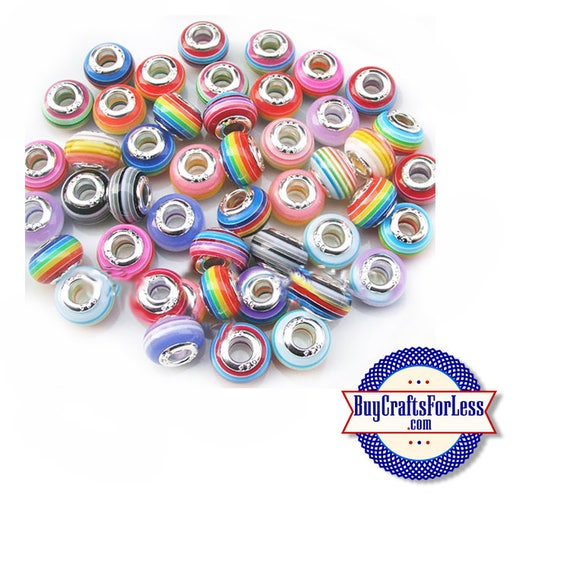 ASSORTED Colorful Striped BEADs, Acrylic, Large Hole, 50 PCS **FREE Shipping*