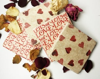 Natural Stone heart and love Coasters