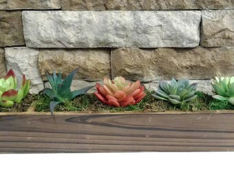 Wood Planter with 5 Artificial Succulents, Country Decor, Rustic