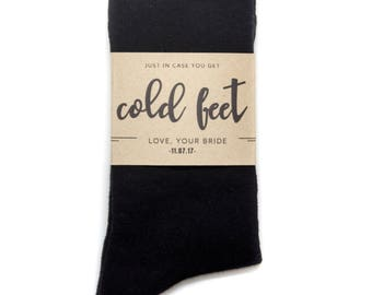Just In Case of Cold Feet - Groom Gift from Bride - Custom Sock Labels