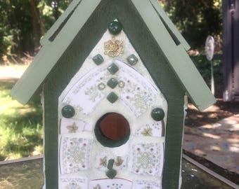 Mosaic Sage Green Birdhouse