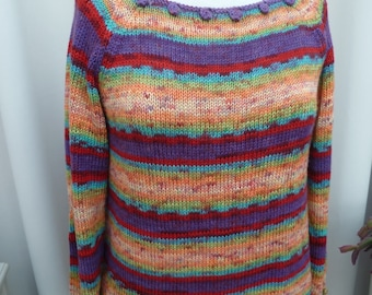 handmade colorful raglan sleeve knit sweater