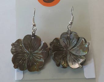 Carved Abalone Flower Earrings - Tab Edge