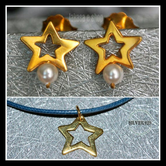 SET Stars Freshwater Pearls Jewelry Earrings Necklace Sterling Silver Gold plated Fine Greek Art Best Gift Mother day Anniversary Luck Star
