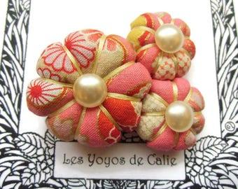 ARIETTE - Les Yoyos de Calie - Japanese fabric brooch pumpkin flower asiatic hippy chic hobo kawaii elegant pink orange red vintage cute