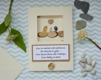 New Baby Card ©, Welcome Baby Card, Handmade Card, New Birth, Pebble Picture, Baby Shower Card, New Mum and Dad, Far Far Away Art