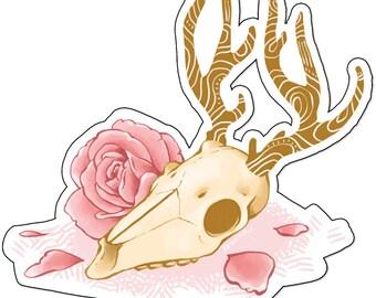 Deer Skull & Rose 10cm Vinyl Sticker