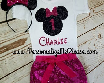 Minnie Mouse Birthday Outfit, Girls Birthday Outfit, Black and Hot Pink Birthday Outfit, Sequin Shorts Birthday Outfit