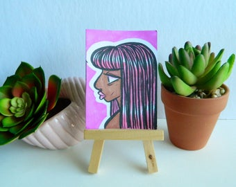 Original Cute Pink Girl Artist Trading Card (ATC)