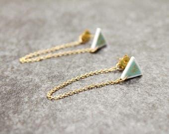 Mint Green Triangle Dangle Chain Earrings / Gold Flake Geometric Earrings