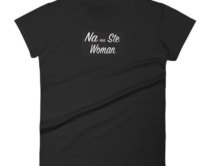 Women's short sleeve t-shirt, Na ma Ste Woman, Black Tee