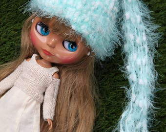 Fluffy green/blue turqoise Blythe hat