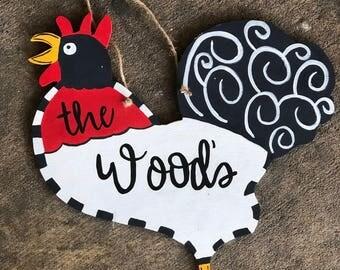 Rooster wooden door hanger