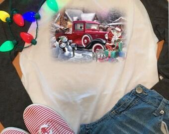 Santa with truck  on raglan