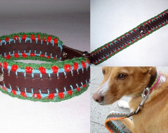 Dog collar of flower size L dog collar