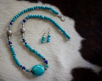 Genuine Natural Turquoise, Lapis Lazuli, Antique Beads Necklace with Matching Earrings.