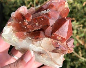Red Hematite Included Quartz Cluster