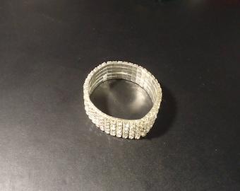 5-Row Clear Diamante Flex Braclet In Rhodium Plating