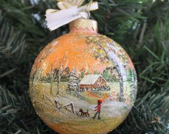 Painted Christmas Ornament, Christmas Ornament, Winter Scene Ornament, Hand Painted Winter Scene Ornament, Christmas Present, Gift for her