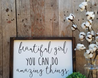 beautiful girl, nursery sign, nursery decor, baby girl sign, girl nursery decor