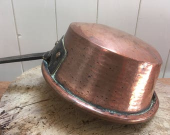 Antique French Copper Pot / Large Ladle, Vintage french cuisine, late 1930s-40's