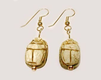 Ancient 600BC Egyptian Handcarved Soapstone Scarab Beetles God Kepri Set into Contemporary 14kt Gold Fill Hook Earrings #57098