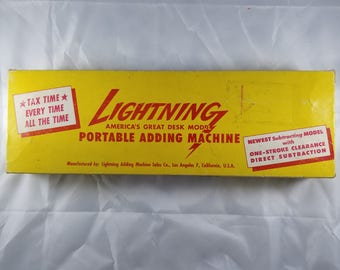 Lightning Vintage 1947 Portable Adding Machine